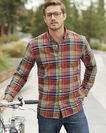 MEN'S LONG-SLEEVE MADRAS SHIRT IN BRICK/OLIVE PLAID