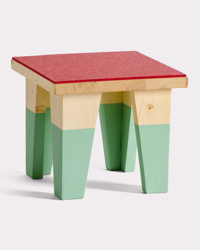WEE FELTED STOOL, AQUA/RED, large