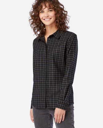 WOMEN'S ULTRALUXE MERINO COOPER SHIRT IN BLACK MULTI WINDOWPANE