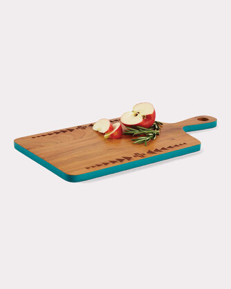 ACACIA WOOD SERVING BOARD, TURQUOISE, large