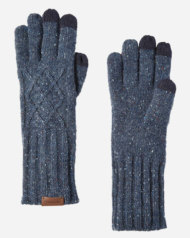 CABLE GLOVES, BLUE MIX, large