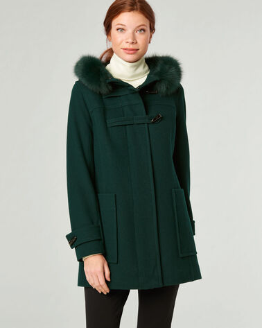 FUR TRIM TOGGLE COAT, BOTTLE GREEN, large