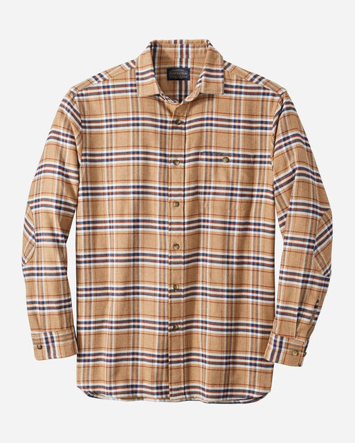 MEN'S CASCADE FLANNEL SHIRT IN CAMEL/NAVY/RUST PLAID