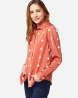 WOMEN'S SOFT BUTTON SHIRT IN TERRA COTTA PRINT
