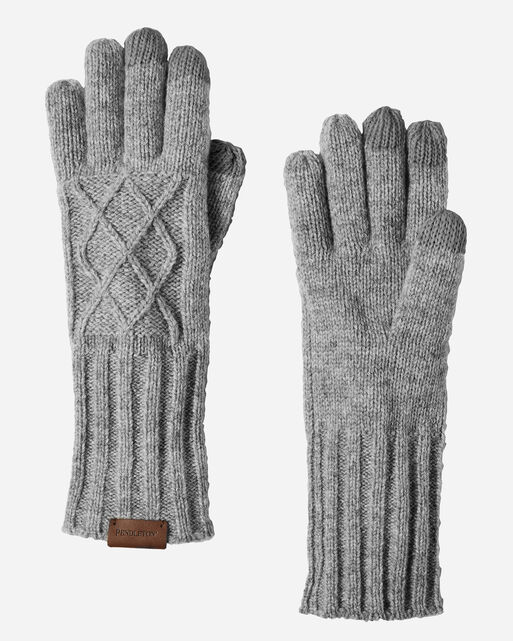 CABLE GLOVES, GREY MIX, large