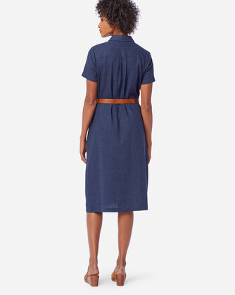 ALTERNATE VIEW OF WASHED LINEN A-LINE SHIRT DRESS IN NAVY MIX