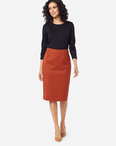 SEASONLESS WOOL PENCIL SKIRT IN PICANTE