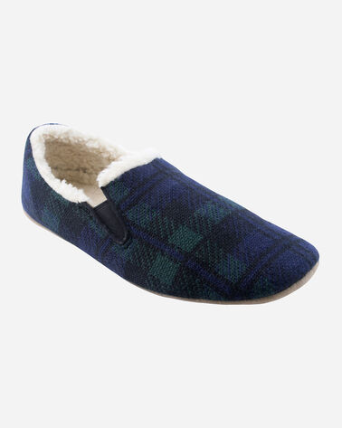 BLACK WATCH PLAID NOMAD SLIPPERS IN NAVY BLACK WATCH