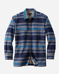 FLEECE LINED SHIRT JACKET, INDIGO/TURQUOISE STRIPE, large
