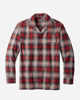 MEN'S FITTED COTTON BOARD SHIRT IN RED/BLACK OMBRE
