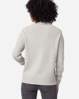 ALTERNATE VIEW OF WOMEN'S CASHMERE TURTLENECK IN SILVER GREY HEATHER