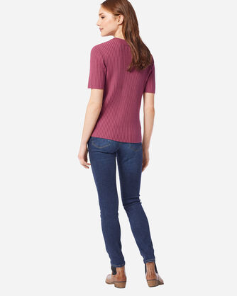 ADDITIONAL VIEW OF WOMEN'S SHORT-SLEEVE MERINO RIB PULLOVER IN ROSE