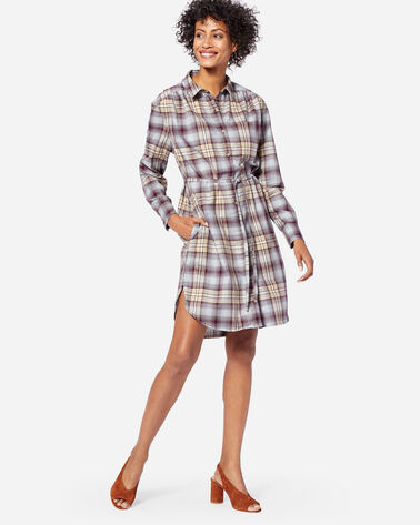 ADDITIONAL VIEW OF LONG SLEEVE PLAID SHIRTDRESS IN FIG/TAUPE