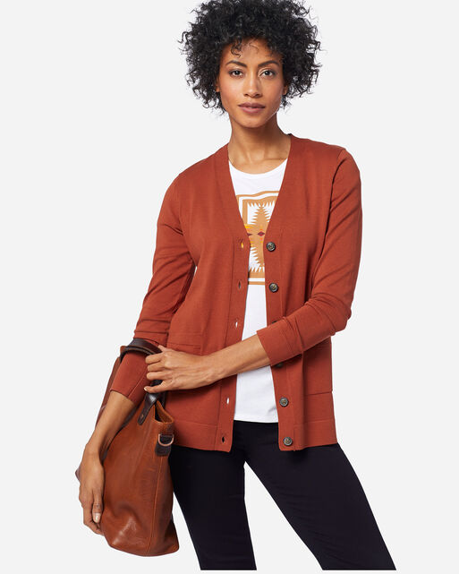 WOMEN'S COLBY V-NECK CARDIGAN IN PICANTE
