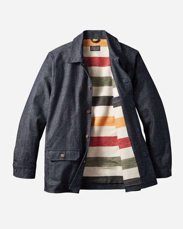 ADDITIONAL VIEW OF DENIM COAT WITH GLACIER STRIPE LINING IN DARK DENIM