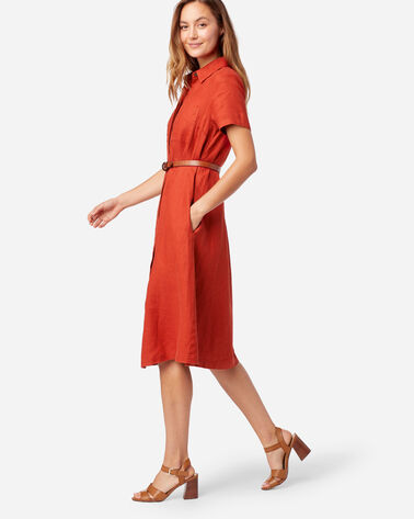 ALTERNATE VIEW OF A-LINE LINEN SHIRT DRESS IN RED OCHRE
