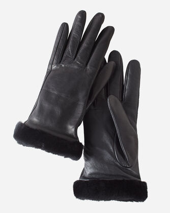 WOMEN'S UGG CLASSIC LEATHER SHORTY TECH GLOVES, BLACK, large