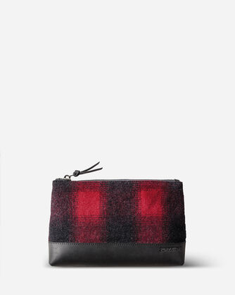 BUFFALO CHECK ZIP POUCH IN RED/BLACK OMBRE