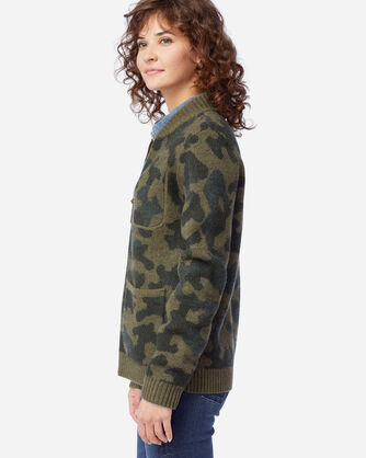 ALTERNATE VIEW OF WOMEN'S BOILED WOOL BOMBER JACKET IN OLIVE CAMO