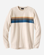 MEN'S CAMP STRIPE CREW SWEATSHIRT IN LIGHT TAN HEATHER