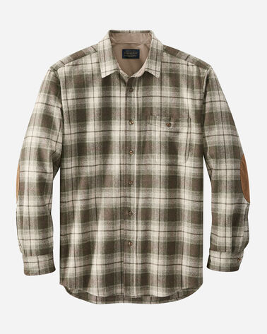 MEN'S FITTED ELBOW-PATCH TRAIL SHIRT IN BROWN/GREEN/TAN PLAID