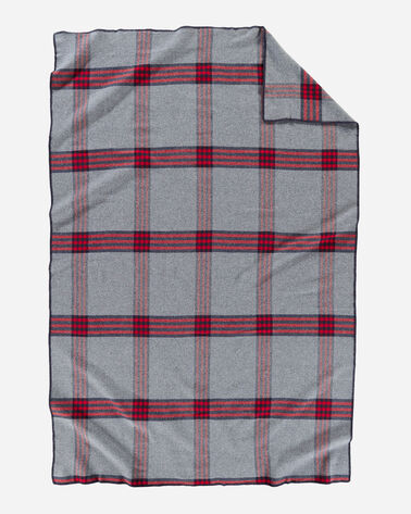 ALTERNATE VIEW OF ECO-WISE WOOL PLAID/STRIPE BLANKET IN GREY/RED PLAID