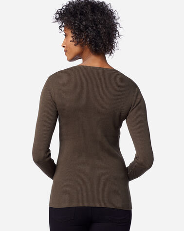 ADDITIONAL VIEW OF WOMEN'S RIB JEWEL NECK PULLOVER IN COFFEE