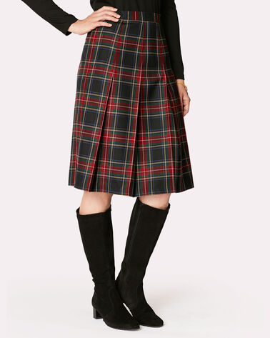 PAULINE PLEAT SKIRT, BLACK STEWART TARTAN, large