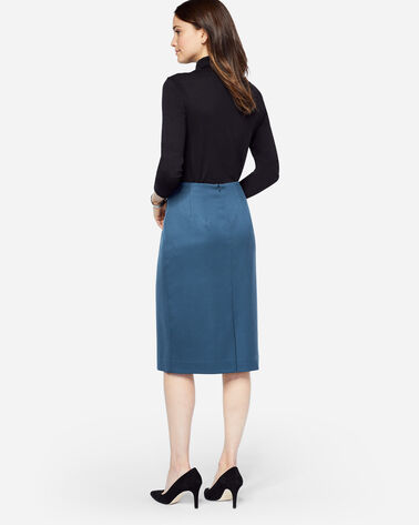 ADDITIONAL VIEW OF SEASONLESS WOOL PENCIL SKIRT IN BLUE WING