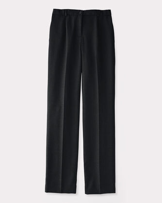 WORSTED WOOL FLANNEL TRUE FIT TROUSERS, BLACK, large