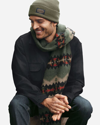 ALTERNATE VIEW OF JACQUARD SCARF IN SONORA OLIVE