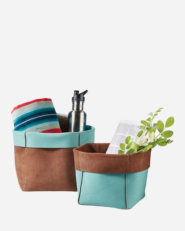 LEATHER NESTING BASKETS, SET OF 2, BROWN/AQUA, large