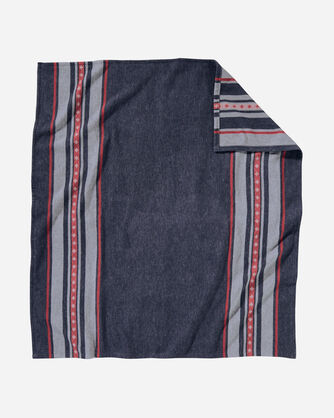 ADDITIONAL VIEW OF SHELTER BAY THROW SET IN GREY/BLUE