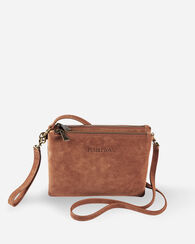 SUEDE CROSSBODY BAG, BROWN/AQUA, large
