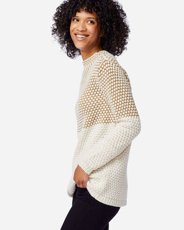 ALTERNATE VIEW OF WOMEN'S TEXTURED FUNNEL NECK PULLOVER IN CAMEL/ANTIQUE WHITE