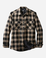 MEN'S QUILTED SHIRT JACKET, TAUPE/BLACK PLAID, large