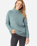 WOMEN'S DONEGAL MERINO SWEATER IN SEA GLASS BLUE