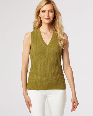 V-NECK PULLOVER, MOSS GREEN, large