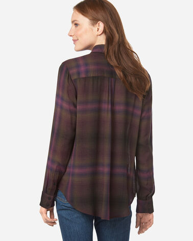 WOMEN'S HELENA BUTTON FRONT SHIRT, BERRY/FOREST PLAID, large