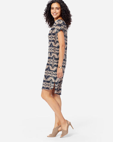 WILLOW CREEK SILK SHIFT DRESS, NAVY/SANDSTONE, large