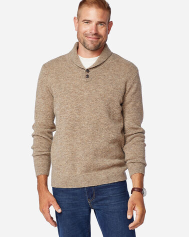 MEN'S SHETLAND SHAWL PULLOVER IN COYOTE TAN HEATHER