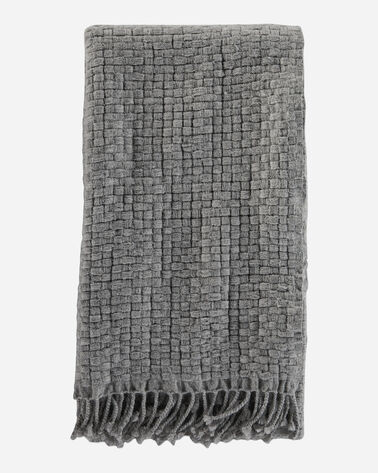 CESTINO WOOL/ALPACA FRINGED THROW IN GREY MIX
