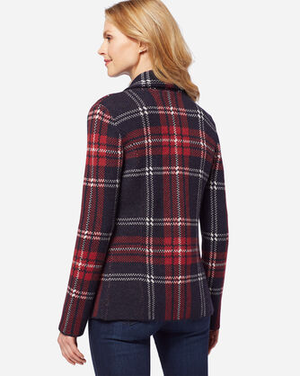 GLASGOW CARDIGAN, BLACK STEWART TARTAN, large