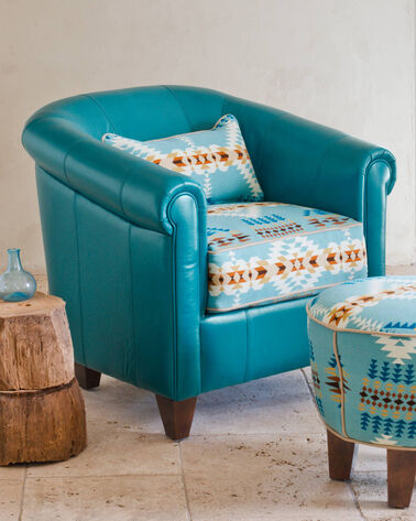 DALTRY LEATHER CHAIR, TURQUOISE/AQUA RANCHO, large