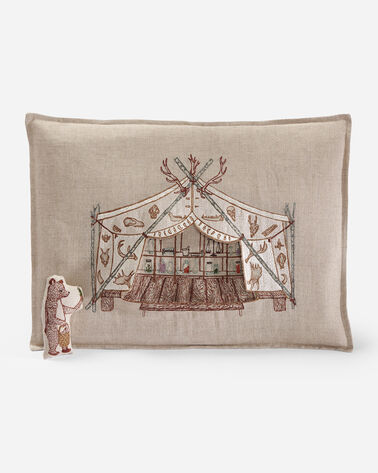 ADDITIONAL VIEW OF BEAR APOTHECARY TENT PILLOW IN NATURAL LINEN