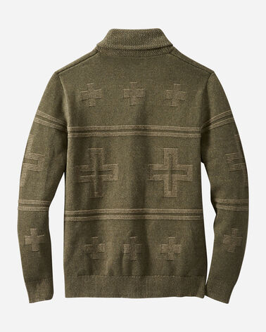 ALTERNATE VIEW OF MEN'S CROSS MOTIF CARDIGAN IN OLIVE GREEN