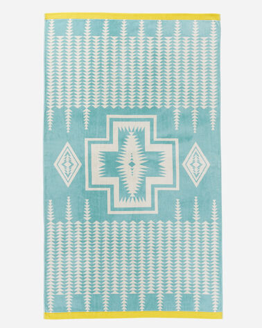 HARDING JACQUARD SPA TOWEL IN AQUA