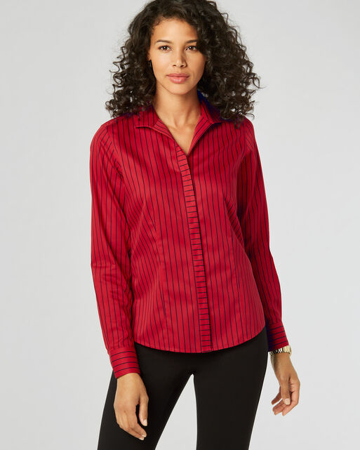 ANNIE NON-IRON STRIPED SHIRT, SCARLET/BLACK, large