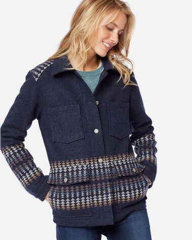 ADDITIONAL VIEW OF HARDING WESTERN HORIZONS BLANKET COAT IN NAVY MIX