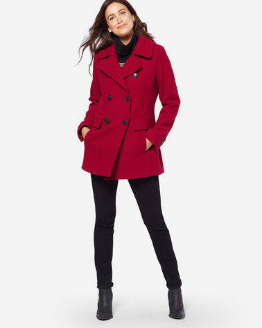 ADDITIONAL VIEW OF WOMEN'S WOOL PEA COAT IN RED